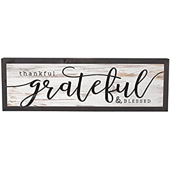 Amazon.com: Thankful Grateful Blessed Grey White 25 x 8 Inch Solid ...