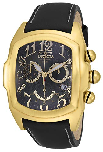 Lupah Swiss - Invicta Men's Lupah Stainless Steel Quartz Watch with Leather Strap, Black, 26 (Model: 18443)