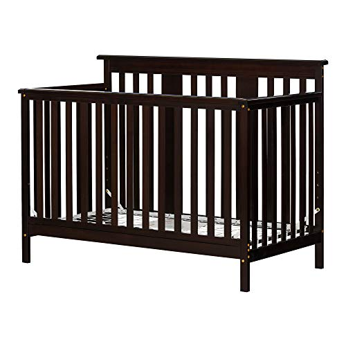 (South Shore 11850 Little Smileys Baby Crib 4 Heights with Toddler Rail, Espresso)