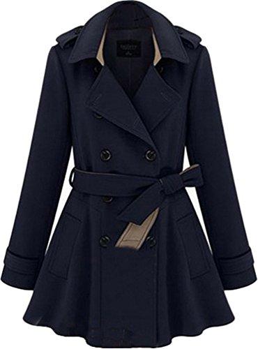 Medium Marine Col Uni Manteau Blouson Longues Classique Ads Bleu Manches Chemise Femme p1gHqTw