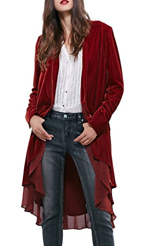 R.Vivimos Women Ruffled Asymmetric Long Velvet Blazers Coat Large WineRed