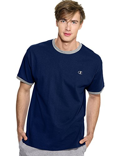 Champion Men's Jersey Ringer T-Shirt, Navy/Oxford Gray, Small