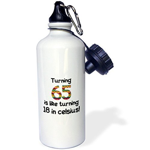 Mosonスポーツウォーターボトルギフト、Turning 65 Is Like Turning 18 in摂氏ユーモラス65th誕生日ギフトホワイトステンレススチールウォーターボトルforレディースメンズ21oz B07BK1FJSZ