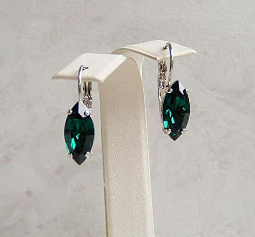 (Dark Green Marquise Crystal Leverback Earrings Simulated Emerald May Birthstone Gift Idea RP)