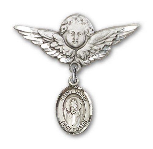 Icecarats Créatrice De Bijoux En Argent Sterling St. David De La Broche Badge Galles Charme D'Ange 1 1/8 X 1 1/8