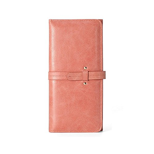 Elegant Leather Wallet for Women Slim Clutch Purse Long Designer Bifold Checkbook Ladies Credit Card Holder Organizer Coin Pocket (Pink)