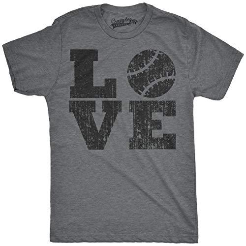 Mens Love Baseball Funny Sporting Lover Home Run Cute Relationship T Shirt (Dark Heather Grey) - L -