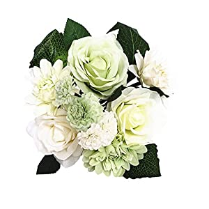 BECOR Fake Flowers Bouquet Artificial Silk Rose Carnation Plant with Leaves for Wedding Home Party Table Decor, 10 Flowers Per Bunch, 8 Stems Per Pack, White & Green 63