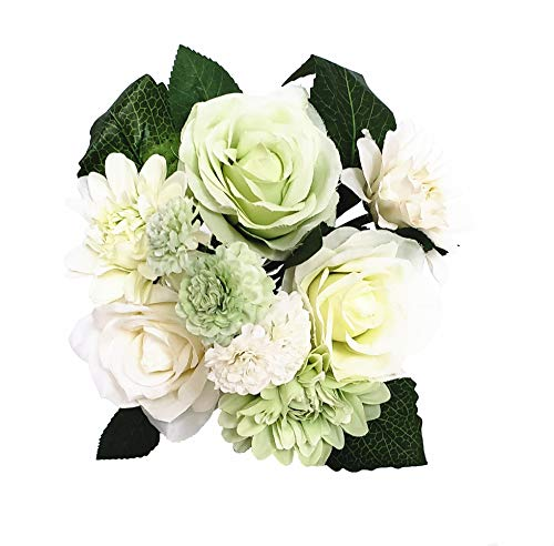 BECOR Fake Flowers Bouquet Artificial Silk Rose Carnation Plant with Leaves for Wedding Home Party Table Decor, 10 Flowers Per Bunch, 8 Stems Per Pack, White & Green ()