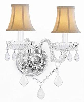 Murano Venetian Style Crystal Wall Sconce Lighting With White Shades!