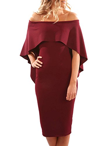 Midi Off Shoulder Party Dresses Pencil Womens Evening Bodycon Wine Dokotoo Ruffles 0EHqnFx5