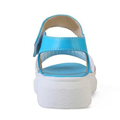 TAOFFEN Mujer Comodo Simple Plataforma Sandalias Playa Plano Zapatos con Velcro Azul