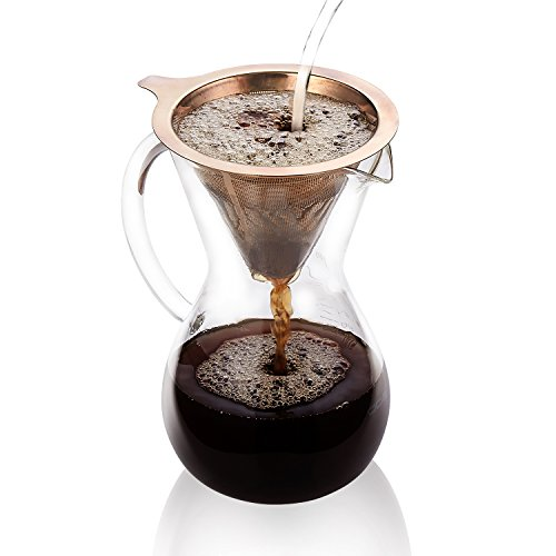 Pour Over Coffee Maker,27 oz Hand Manual Coffee Dripper-Tough Borosilicate Glass Carafe plus Reusable Stainless Steel Mesh Filter by Gvode ()
