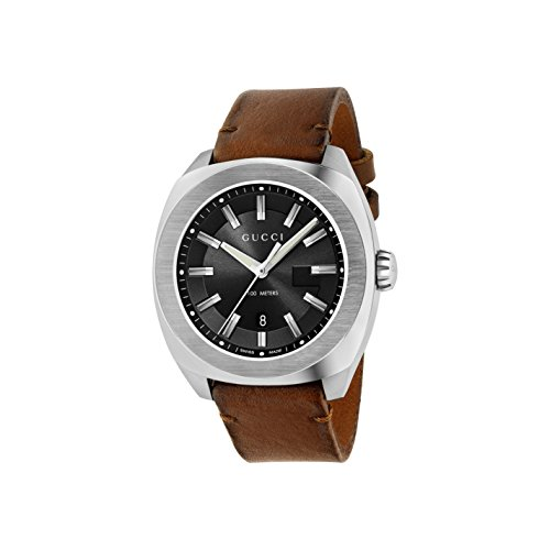 Gucci Men's Swiss Quartz Stainless Steel and Leather Dress Watch, Color:Brown (Model: YA142207)