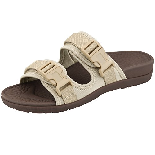 Everhealth Orthotic Sandals Women Buckle Slides Sandal Outdoor Slippers with Arch Support for Plantar Fasciitis (Cream Beige 8 US Women/7 US Men)