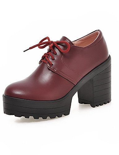 ZQ hug Zapatos de mujer - Tacón Robusto - Tacones - Tacones - Casual - Semicuero - Negro / Rojo / Beige , red-us10.5 / eu42 / uk8.5 / cn43 , red-us10.5 / eu42 / uk8.5 / cn43 red-us6 / eu36 / uk4 / cn36