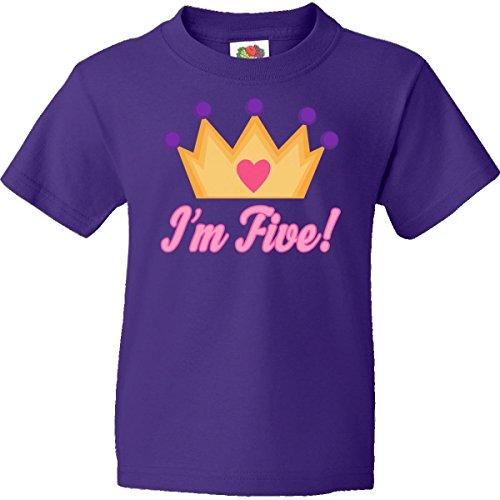 Inktastic Big Boys' 5th Birthday Princess Crown Youth T-Shirt Youth Small (6-8) Purple
