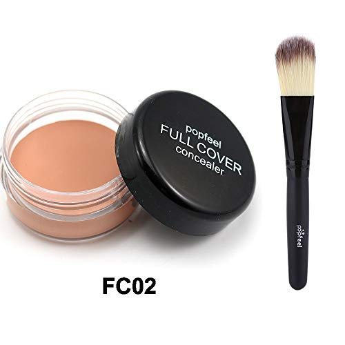 - JYS Flawless Concealer Cover With Concealer Brush,Poreless Lasting Waterproof Colour Changing Foundation Makeup Base Nude Face Cover Concealer-10g