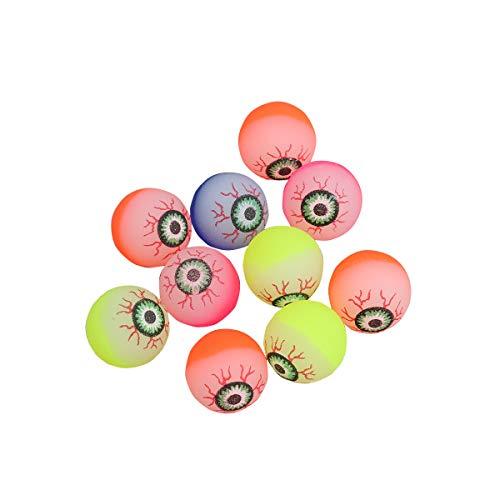 Toyvian 10pcs Halloween Eyeballs, Glow in The Dark, 32mm Scary Bouncy Balls (Random Color) -