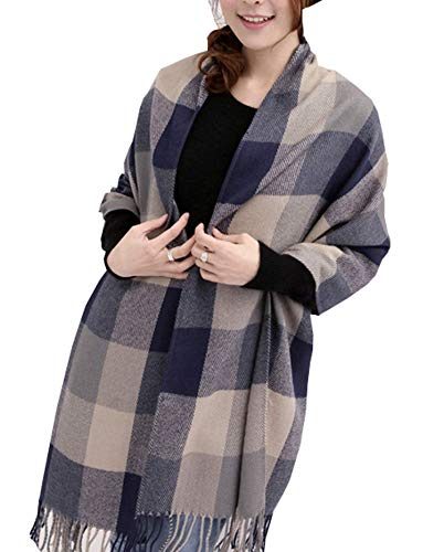 (Wander Agio Women's Fashion Long Shawl Big Grid Winter Warm Large Scarf Grey)