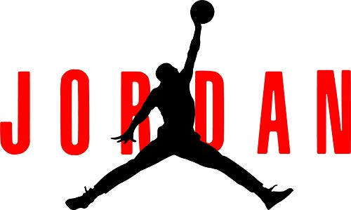 AIR Jordan Flight 23 Jumpman Logo NBA Huge Vinyl Decal Sticker for Wall Car Room Windows (23' inches (Red - Black)