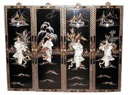 Amazon Com Oriental Black Lacquer Wood Wall Panels Four