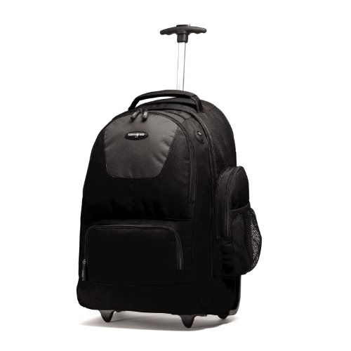 Samsonite Wheeled Backpack, Black/Charcoal, One Size (Small Wheeled Backpack)