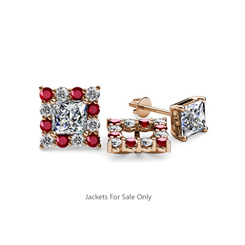 Ruby and Diamond (SI2-I1, G-H) Halo Jacket for Princess Cut Stud Earrings 0.74 ct tw 14K Rose Gold