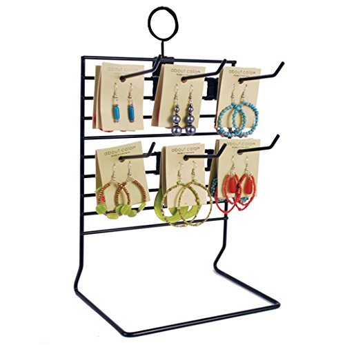 "Wire Countertop Merchandise Display Rack w/Six Peg Hooks 4"" Black Lot of 10 NEW from CUSTOM"