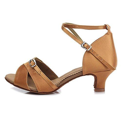 YFF Women Professional Dancing Shoes Ballroom Low Heel Latin Dance Shoes Brown 5CM 3C2YK1G