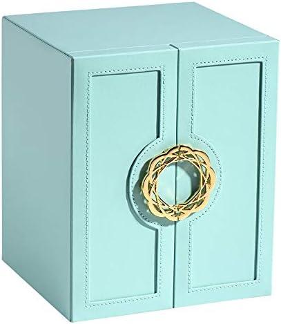 Damen Schmuckschatulle Schmuckschatulle Schmuck Oganiser 5 Schichten Schmuck Aufbewahrungsbox for Mädchen und Frauen-Geschenk (Color : Blue, Size : 20X18.3X24.3CM)