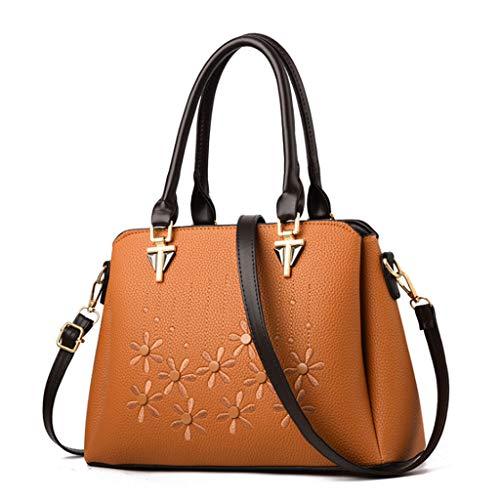 Sac À Main des Femmes Simple PU Sac Casual Trend Sac À Bandoulière Messenger Bag 4 Couleurs (31 * 22 * 12.5cm) (Couleur : Jaune terreux)