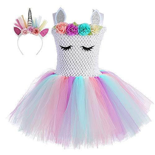 O'COCOLOUR Unicorn Flower Girl Tutu Dress with Unicorn Headband (Pastel White-2, X-Large)