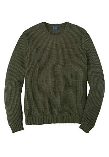 KingSize Men's Big & Tall Shaker Knit Crewneck Sweater, Olive Big-2XL