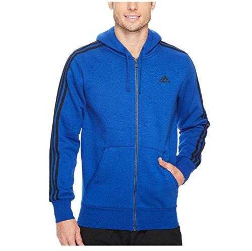 newest 74d99 2dd14 adidas Men s Essentials 3-Stripe Full Zip Fleece Hoodie, Collegiate Royal  Black,