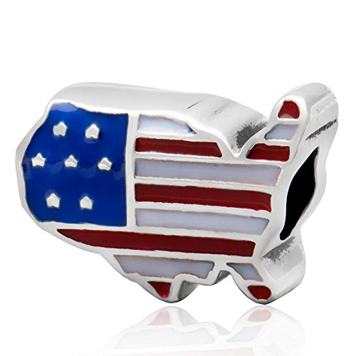 Map Usa Sterling Silver Charm - Patriotic Proud American Flag Country USA Map 925 Sterling Silver Bead Fits European Brand Charms Bracelets