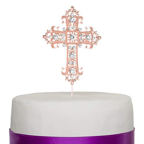 - Ella Celebration Cross Cake Topper, Rose Gold Religious, Wedding, First Communion, Baptism, Christening, Church Dedication Keepsake Decoration (Rose Gold)