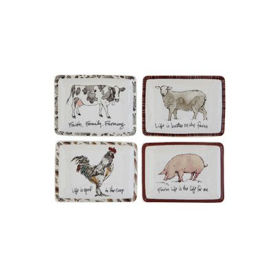 Creative Co-Op Farm Life Trinket Plates, Set of 4 by Creative Co-op