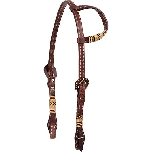 Classic Equine Slp Ear Headstall W/Rawhide Trim Rawhide Trim