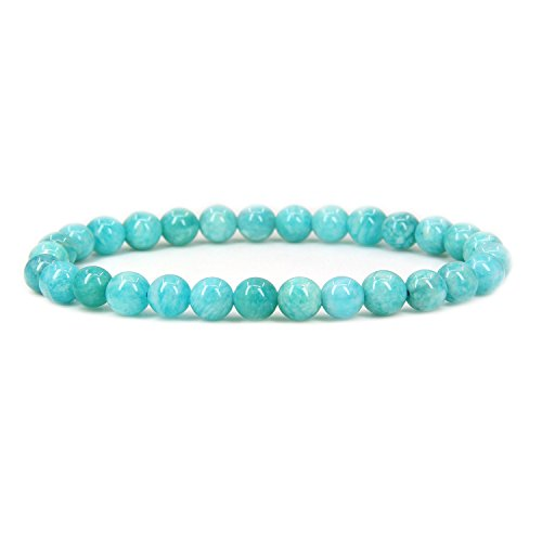 Amazonite Jewelry (Natural Brazilian Amazonite Gemstone 6mm Round Beads Stretch Bracelet 7