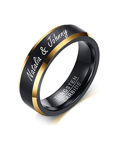 Mealguet Jewelry Personalized Brushed Finish Tungsten Carbide Two-Tone Black Gold Wedding Engagement Promise Ring Bands for Men,Size 10
