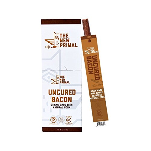 The New Primal Uncured Bacon Maple Natural Pork Sticks, Pack of 20