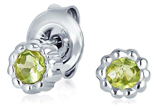 Semi Bezel Solitaire Setting - Tiny Minimalist Green Solitaire Peridot Gemstone Stud Earrings For Women 925 Sterling Silver August Birthstone 5MM
