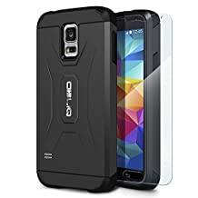 Galaxy S5 Case, OBLIQ [Xtreme Pro][Black] + Screen Shield - Premium Slim Tough Thin Armor Fit Bumper Smooth Finish Dual Layered Heavy Duty Hard Protection Cover for Samsung Galaxy S5