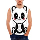 Anime Mens Comfort Cotton Tank Top,Cute Cartoon Smiling Panda Fun Animal Theme
