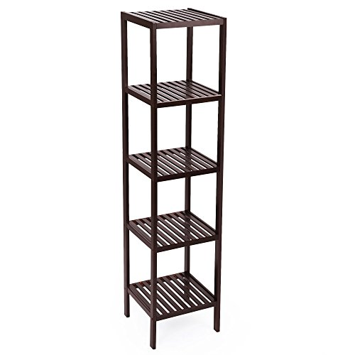 SONGMICS 100% Bamboo Bathroom Shelf, 5-Tier Multifunctional Storage Rack, Shelving Unit, Bathroom Towel shelf for Kitchen, Livingroom, Bedroom, Hallway Brown UBCB55Z