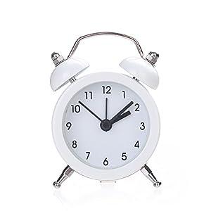 GUCIStyle Reloj Despertador de Doble Campana, Vintage Despertador Analógico de Cuarzo con Luz Nocturna y Alarma Fuerte, Retro Relojes Silencioso Sin Tictac (Blanco)