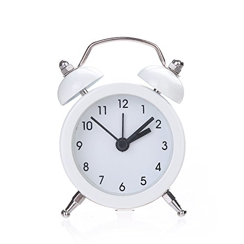 Yamart Alarm Clock, Twin Bell Silent Alloy Stainless Metal Alarm Clock