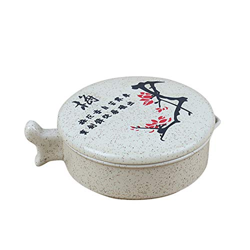 Frjjthchy Multifunctional Ink Stone Dustproof Ceramic Chinese Stone with Cover (Plum Blossom)