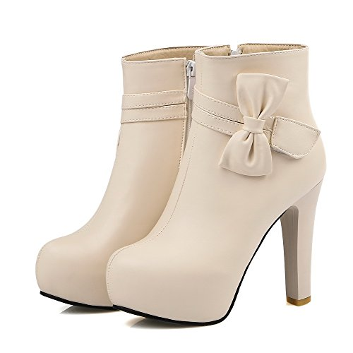 Heels High Top Boots Closed WeiPoot Low Solid Beige PU Round Toe Women's xwYwT10qU